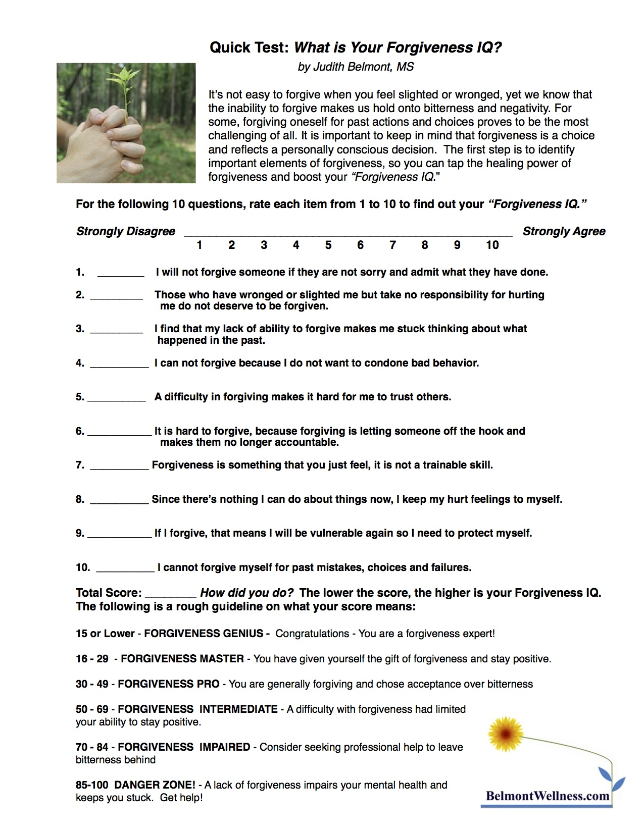 Forgiveness SelfTest – Forgiveness Worksheets